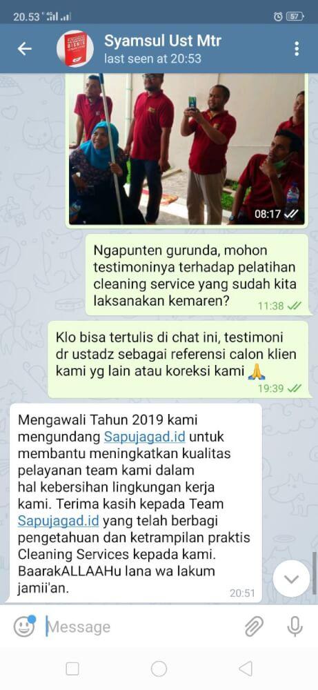 Testimoni Training Cleaning Service - Masyarakattanpariba