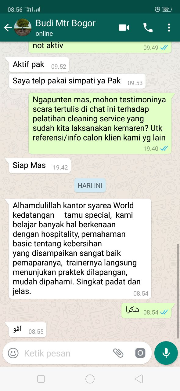 Testimoni Training Cleaning Service - Mtr Bogor