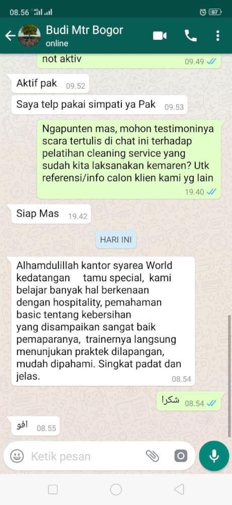 Testimoni Training Cleaning Service - Mtr Bogor