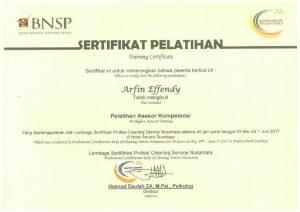 Sertifikat BNSP Arfin Effendy
