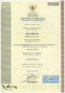 sertifikat Arfin Effendy