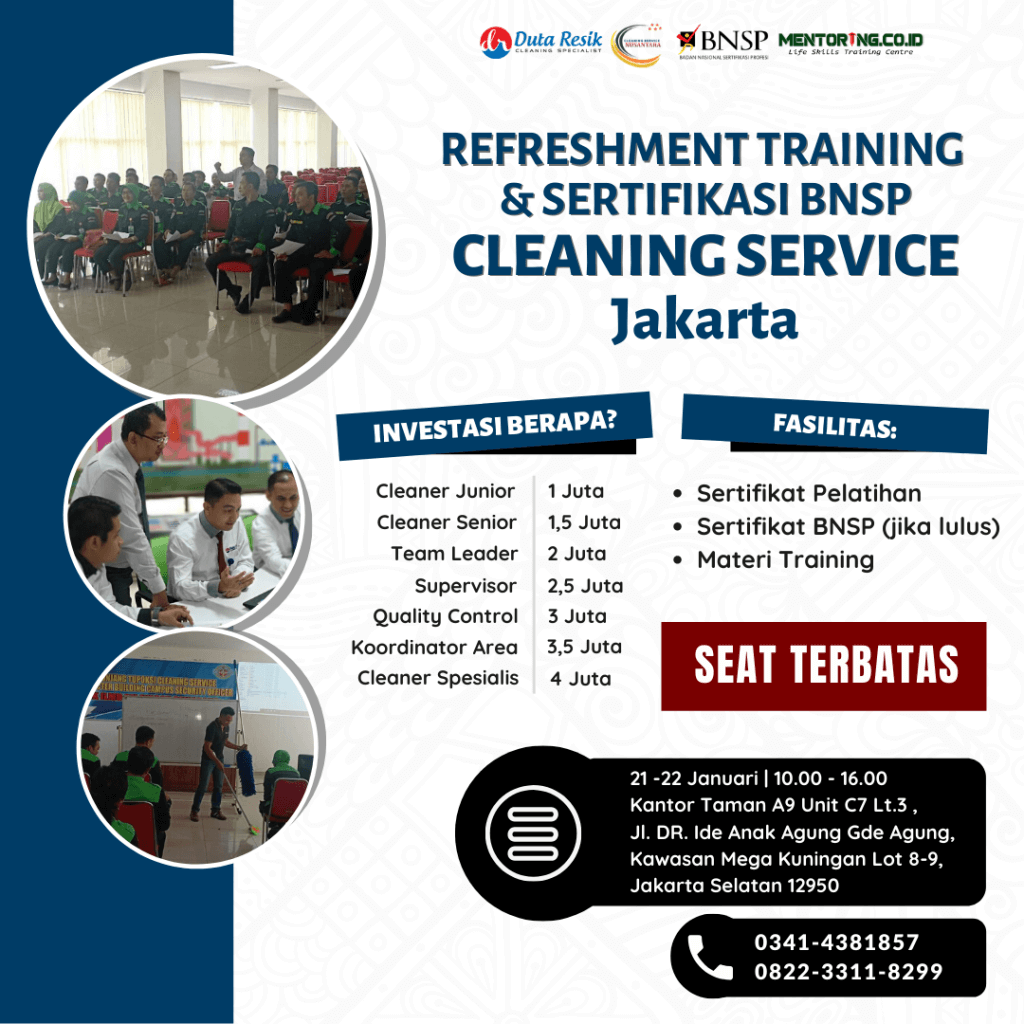Jadwal training dan sertifikasi bnsp cleaning service di Jakarta